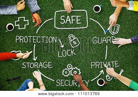 Safe Data Protection Storage Security Guard Concept