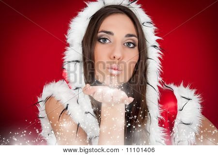 Beautiful Santa Girl Sending A Kiss To You