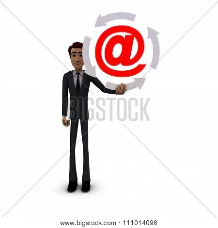 3D Man Holding Four Arrows  In Circular Shape And Email Icon Inside It Concept