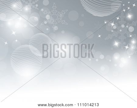 Blue grey winter background with bokeh lights fading to white