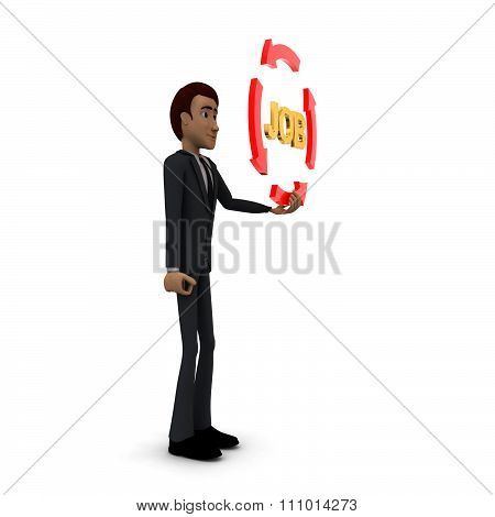 3D Man Holding Four Arrows  In Circular Shape And Job Text Inside It Concept