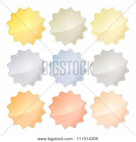 Vector Set Of Blank Glossy Templates Of Different Metals Gold, Red Gold, White Gold, Platinum, Silve