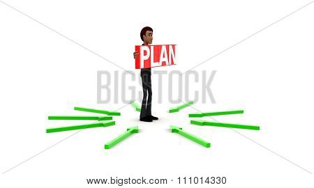 3D Man Holding Plan Text And Standing In Center Of Surrounding And Pointing Arrows Concept