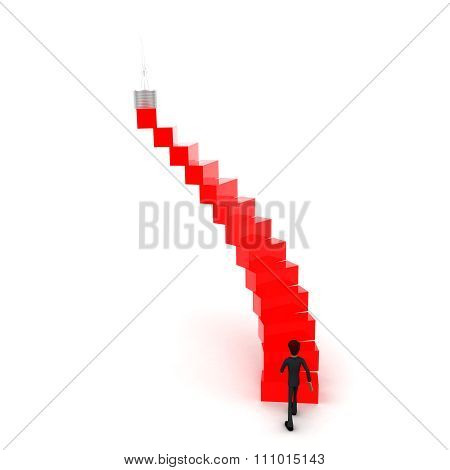 3D Man Walking Upwards To  Bulb  With The Help Of Stairs Concept