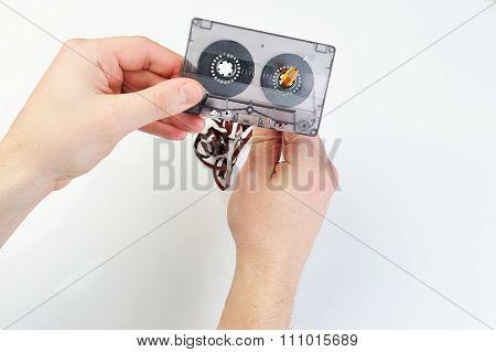 Rewind Audio Casette With Tape