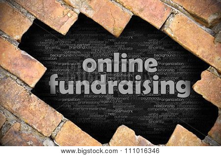 Hole In The Brick Wall With Word Online Fundraising