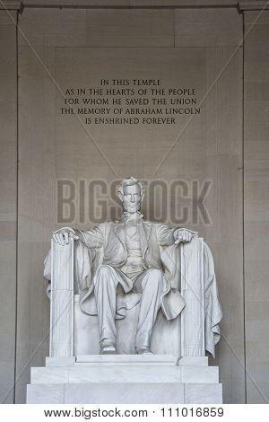 Abraham Lincoln Statue detail at Lincoln Memorial - Washington DC, USA