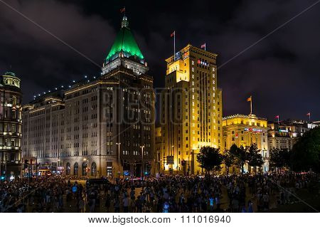 Shanghai, China - Circa September 2015: People Walking At Chenyi Square, Bund,  Shanghai