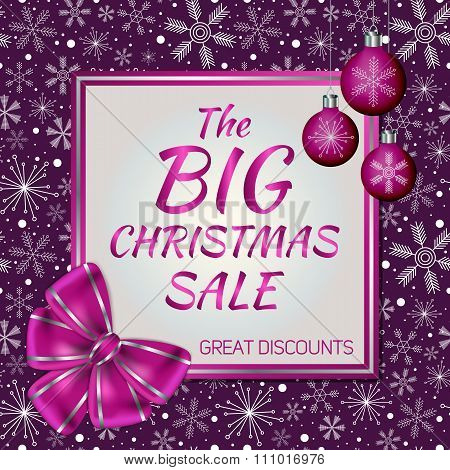 Modern Advertising Card For Christmas And New Year Sale Decorated With Violet Bow, Christmas Balls A