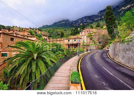 Mountain Road Winding Through Little Spanish Town, Spain