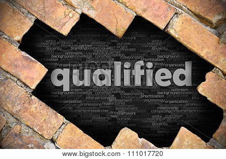 Hole In The Brick Wall With Word Qualified