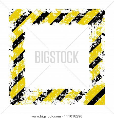 Vector Square Frame With Black Shabby Old Yellow Lines Warning Of The Dangers Of