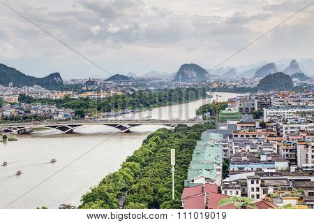 Guilin, China - Circa July 2015: Panorama Of Guilin And Its Karst Mountains From Fubo  Hill