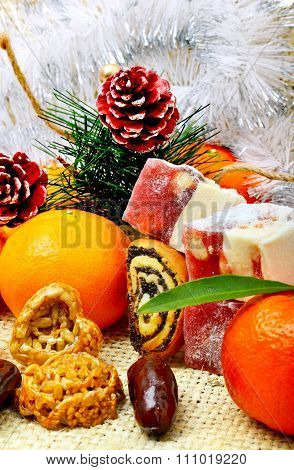Christmas Tangerines, Turkish Sweet; Lokum, Pinecone And Brittle Candies