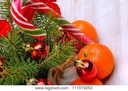 Christmas Tangerines, Christmas Baubles, Sweets, Pinetree