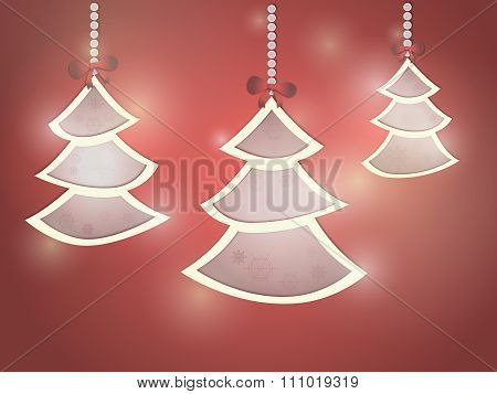 Three christmas tree with snowflakes
