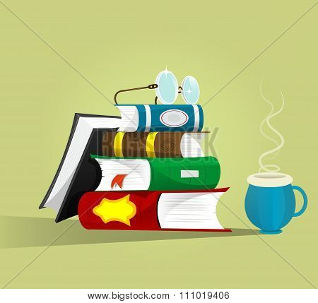 Stack Of Books With Eyeglasses On Top