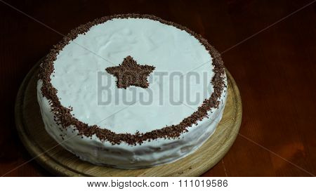 Biscuit Cake With Sour Cram And Chocolade Star