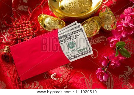 Chinese new year festival decorations, ang pow is given to children and elders during chinese new year for blessing.