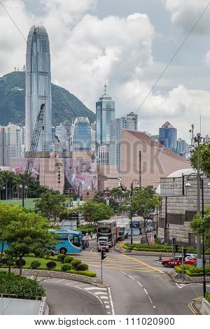 Hong Kong, Sar China - Circa July 2015: Skyline Of Hong Kong Downtown Seen From  Kowloon