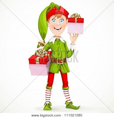 Cute boy the New Year's elf Santa's assistant gives gifts isolated on a white background