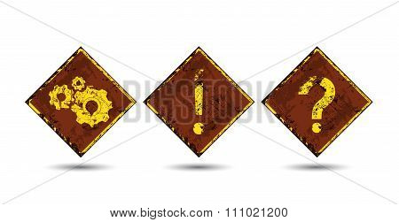 Three Vector Rusty, Shabby, Scratched, Old Road Signs With The Image Of Interrogative And Exclamator