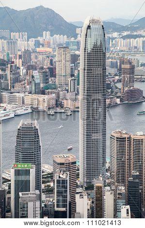 Hong Kong, Sar China - Circa July 2015: International Finance Center (ifc) Tower Seen From Victoria