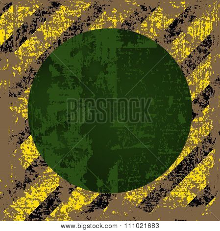 Vector Old Worn, Tattered, Scratch The Square Of Yellow Black Stripes With A Green Circle In The Mid