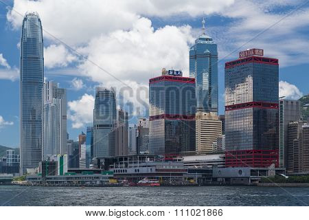 Hong Kong, Sar China - Circa July 2015: Skyline Of Hong Kong Downtown Across Victoria  Harbour