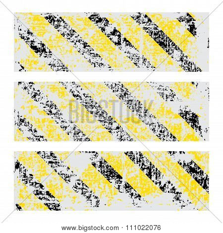 Three Vector Old Worn, Tattered, Scratch Rectangular Banners Of Yellow Black Stripes