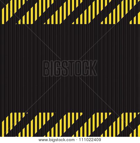Vector Seamless Horizontal Background Of Corrugated Metal Surface Black With Yellow Horizontal Lines