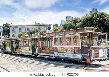 San-francisco-united States, July 13, 2014: Authentic San-francisco Tram On Parking Place On July 13