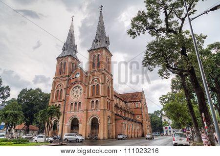 Ho Chi Minh City, Saigon/vietnam - Circa August 2015: Saigon Notre-dame Basilica In Ho Chi Minh City