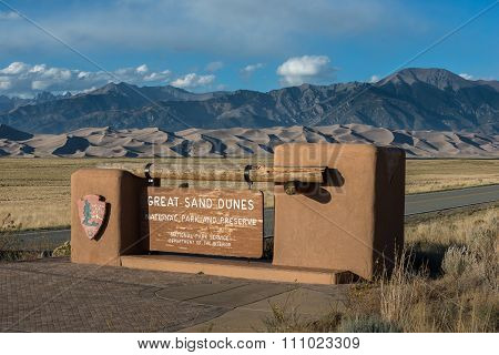 Great Sand Dunes National Park Entrance Sign