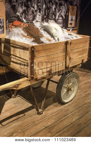 San-francisco-united States, July 13, 2014: Authentic Wharf Ice Cart Used To Move Fish And Ice On St
