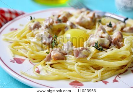 Traditional Italian Spaghetti Carbonara.