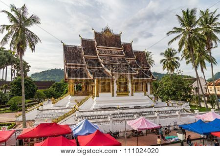 Luang Prabang, Laos - Circa August 2015: Tents Of Night Market And Royal Palace In Luang Prabang,  L
