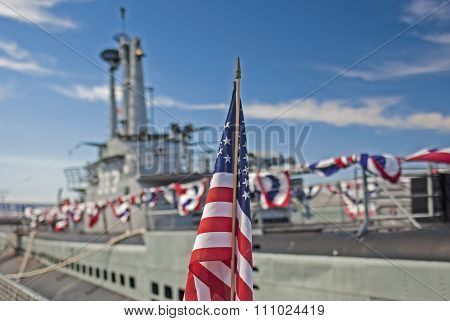 San-Francisco-United States, July 13, 2014: American National Flag in Front of the Second World War