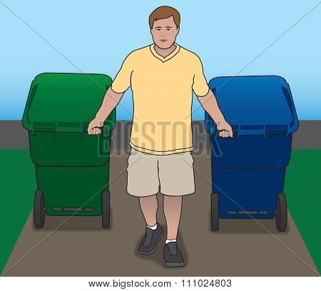 Pulling Trash Cans