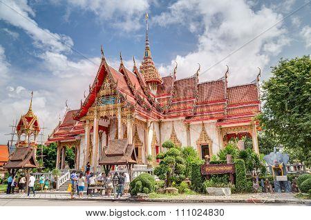 Phuket, Thailand - Circa August 2015: Tourists In Wat Chalong Or Wat Chaiyathararam, Chalong, Phuket