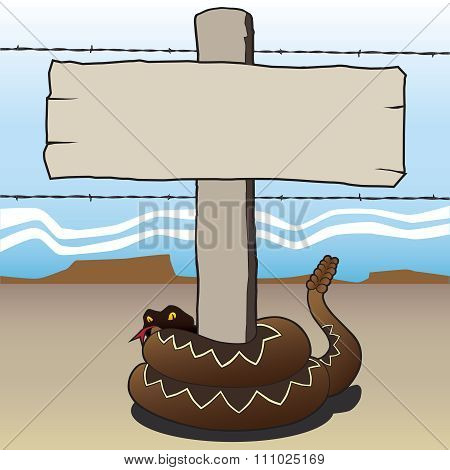 Rattlesnake around signpost