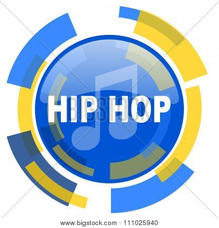 hip hop blue yellow glossy web icon