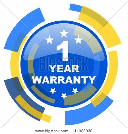 warranty guarantee 1 year blue yellow glossy web icon