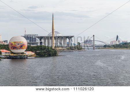 Putrajaya, Malaysia - Circa September 2015: Iron Mosque, Millennium Monument And Seri Saujana Bridge