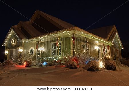 Christmas House With Lights