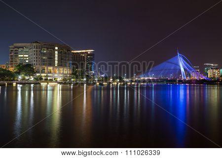 Putrajaya, Malaysia - Circa September 2015: Seri Wawasan Bridge In Putrajaya At  Evening