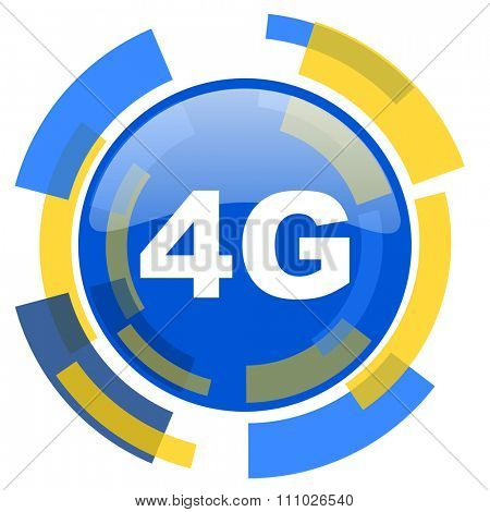 4g blue yellow glossy web icon