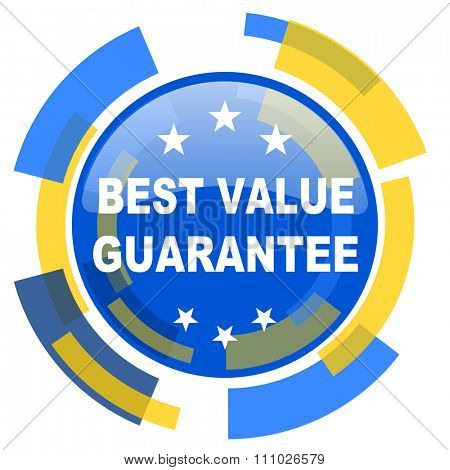 best value guarantee blue yellow glossy web icon