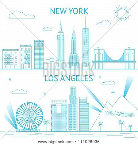 New York and Los Angeles skyline illustration in lines style.