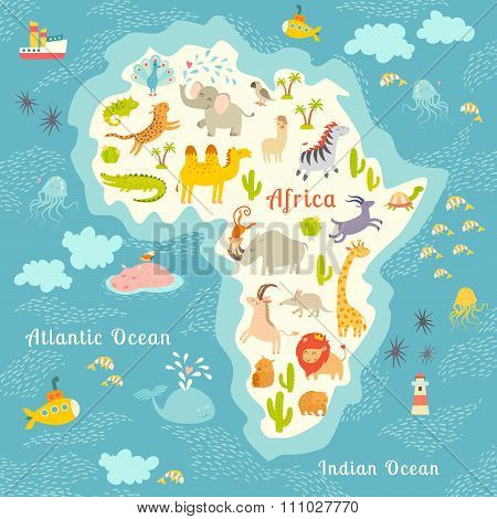 Animals world map Africa. Beautiful cheerful colorful vector illustration for children and kids.